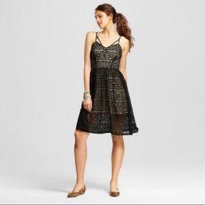 Xhilaration Black Lace Midi Dress